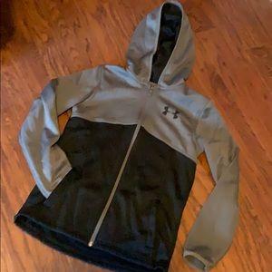 Gray Under Armour Fleece inside Zip up Hoodie